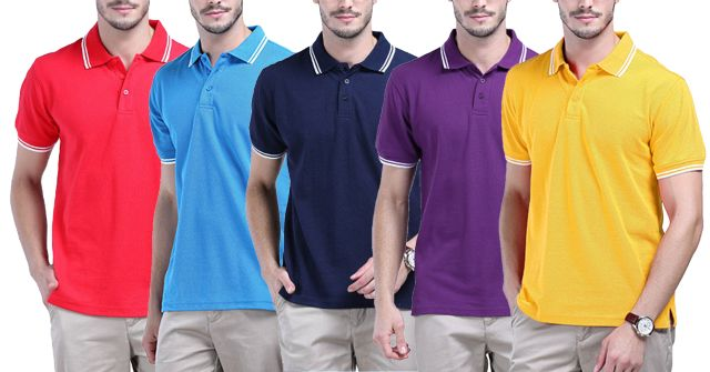 LONDON LOOKS Polo T-Shirts (Pack Of 5)