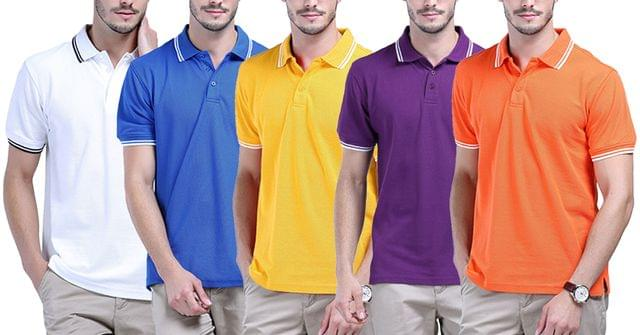LONDON LOOKS Pack Of 5 Polo T-shirts !