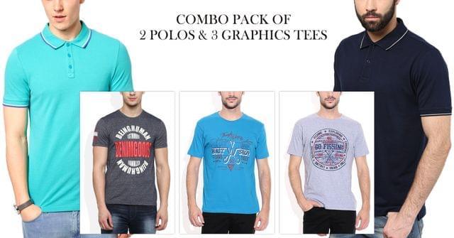London Looks 2 Polo Solid & 3 Graphic T-shirts