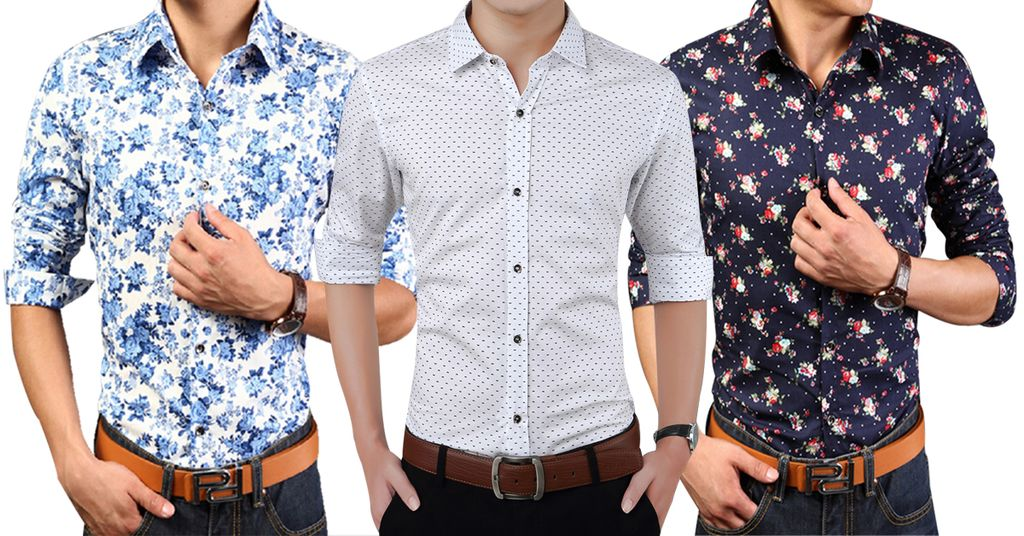 London Looks Men's 3 Fit Coloured Printed Casual Shirts!