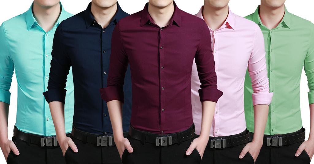 London Looks 5 Tailored-Fit Cotton Casual Shirts !