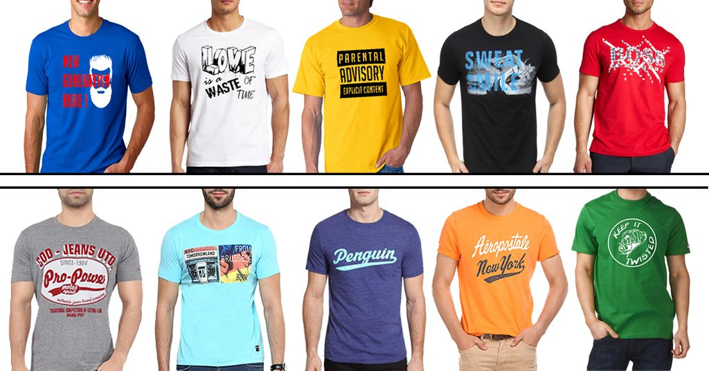 London Looks Blend Of 10 Round Neck Printed T-Shirts !