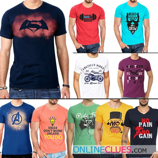 London Looks Branded Men's 10 Round Neck Cotton Printed T-Shirts !