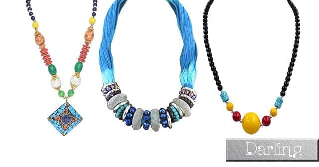 Branded Darling Multicolour Girls Funky Style Necklace Set !