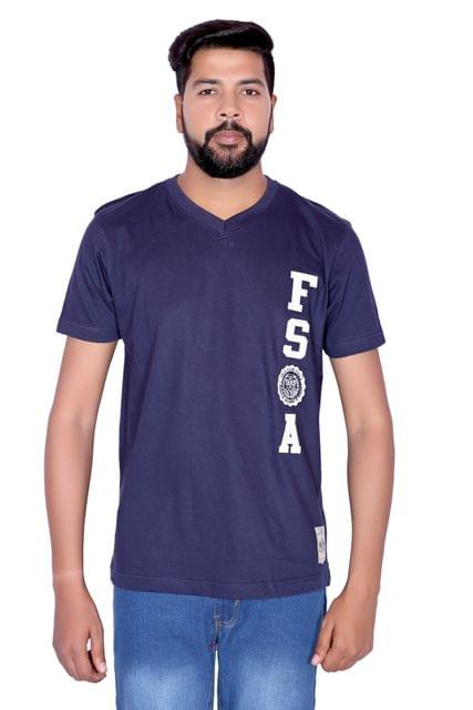 FILA Men's Navy Blue V-Neck Half Sleeve T-shirt!