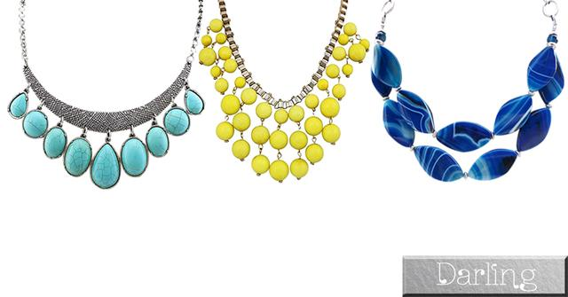Darling Brand - 3 Multicolor Funky Style Stone Necklace Sets !