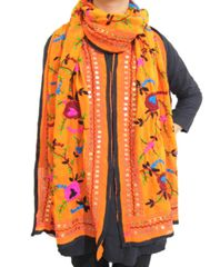 Georgette Phulkari Stole -Orange