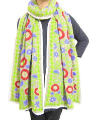 Heavy Georgette Phulkari Stole -Grey