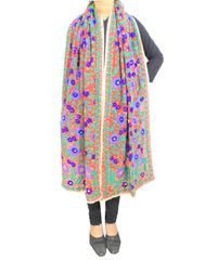 Heavy Georgette Phulkari Stole -Red